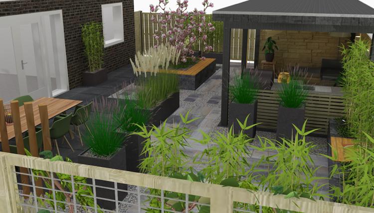 Tuinontwerp met 3d tekening van wijk sierbestrating for 3d tuin ontwerpen